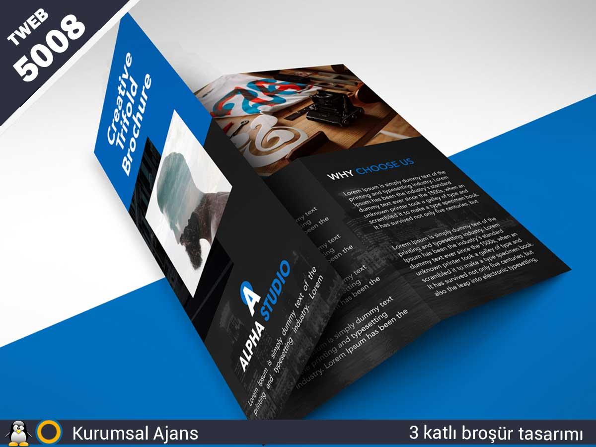 5008 Kurumsal Ajans 3 katlı Broşür tasarımı